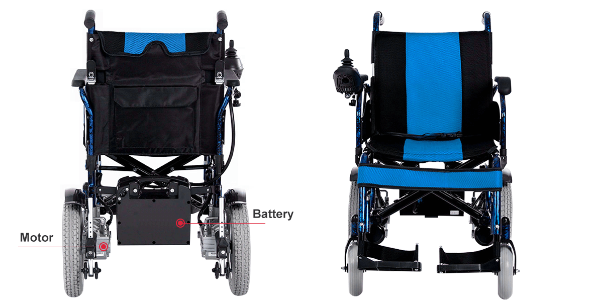 electric wheelchair font and rear